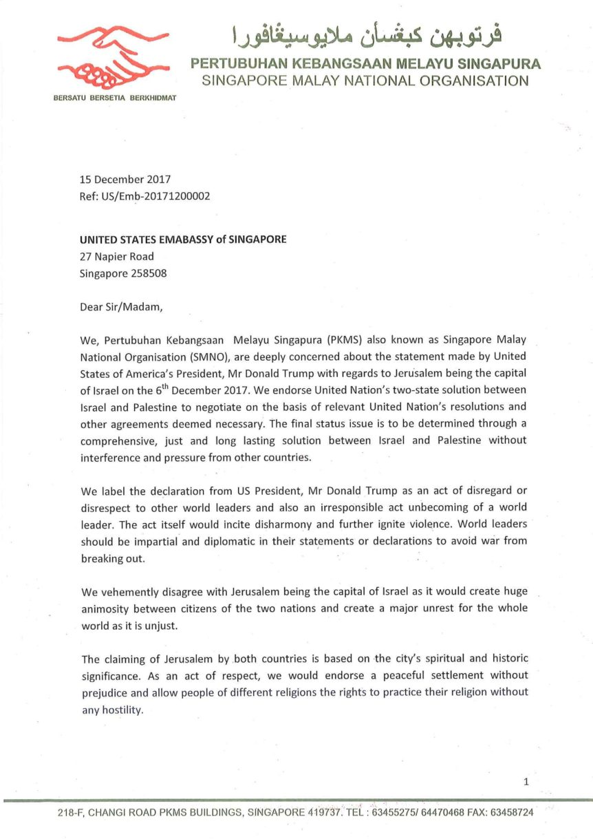 Letter to US Embassy of Singapore - Page 1